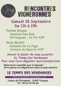 Rencontres vigneronnes @ Le Temps des Vendanges